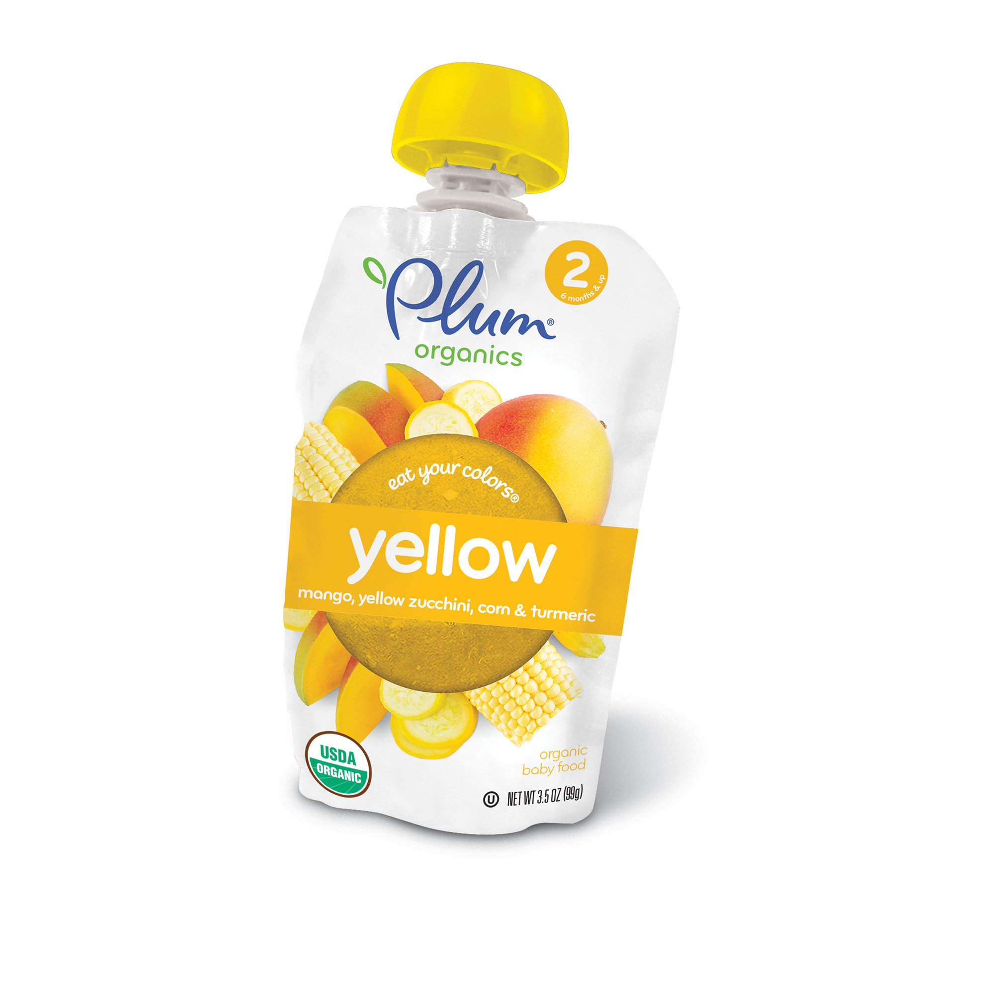 Plum Organics Stage 2 Eat Your Colors Yellow, Organic Baby Food, Mango, Yellow Zucchini, Corn & Turmeric, 3.5 oz