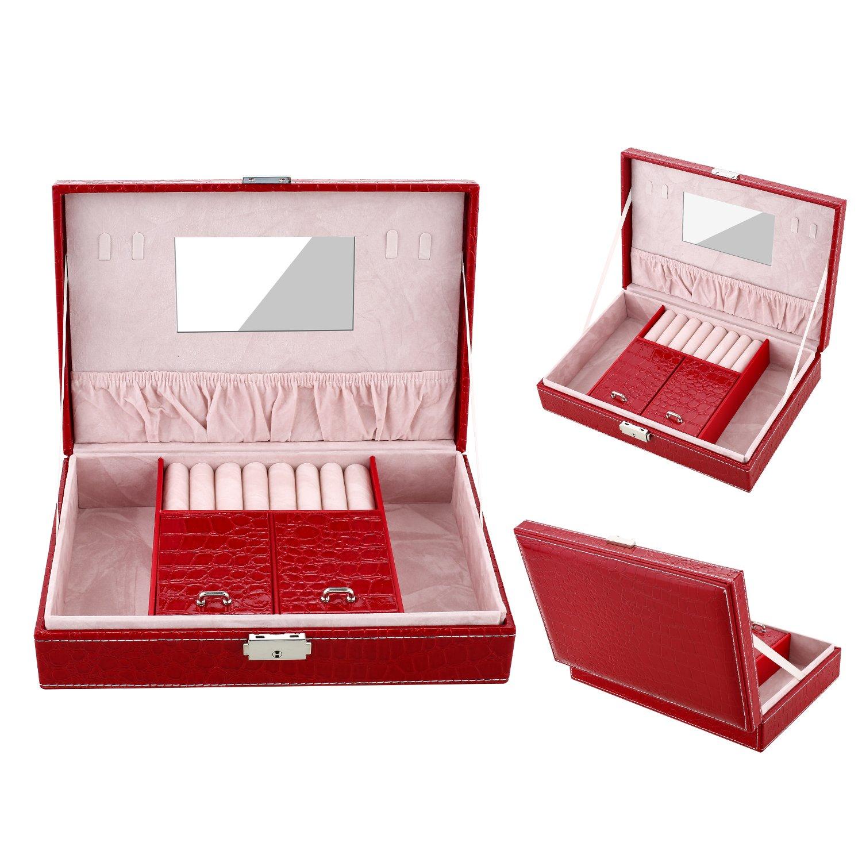 Dorfin Red Jewelry Box Lockable Jewelry Organizer Mirrored Storage Case(7.5 x 11.0 x 3.0) /並/行/輸/入/品