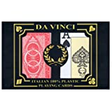 DA VINCI Ruote, Italian 100% Plastic Playing Cards, 2-Deck Poker Size Set, Jumbo Index w/Hard Shell Case and 2 Cut Cards