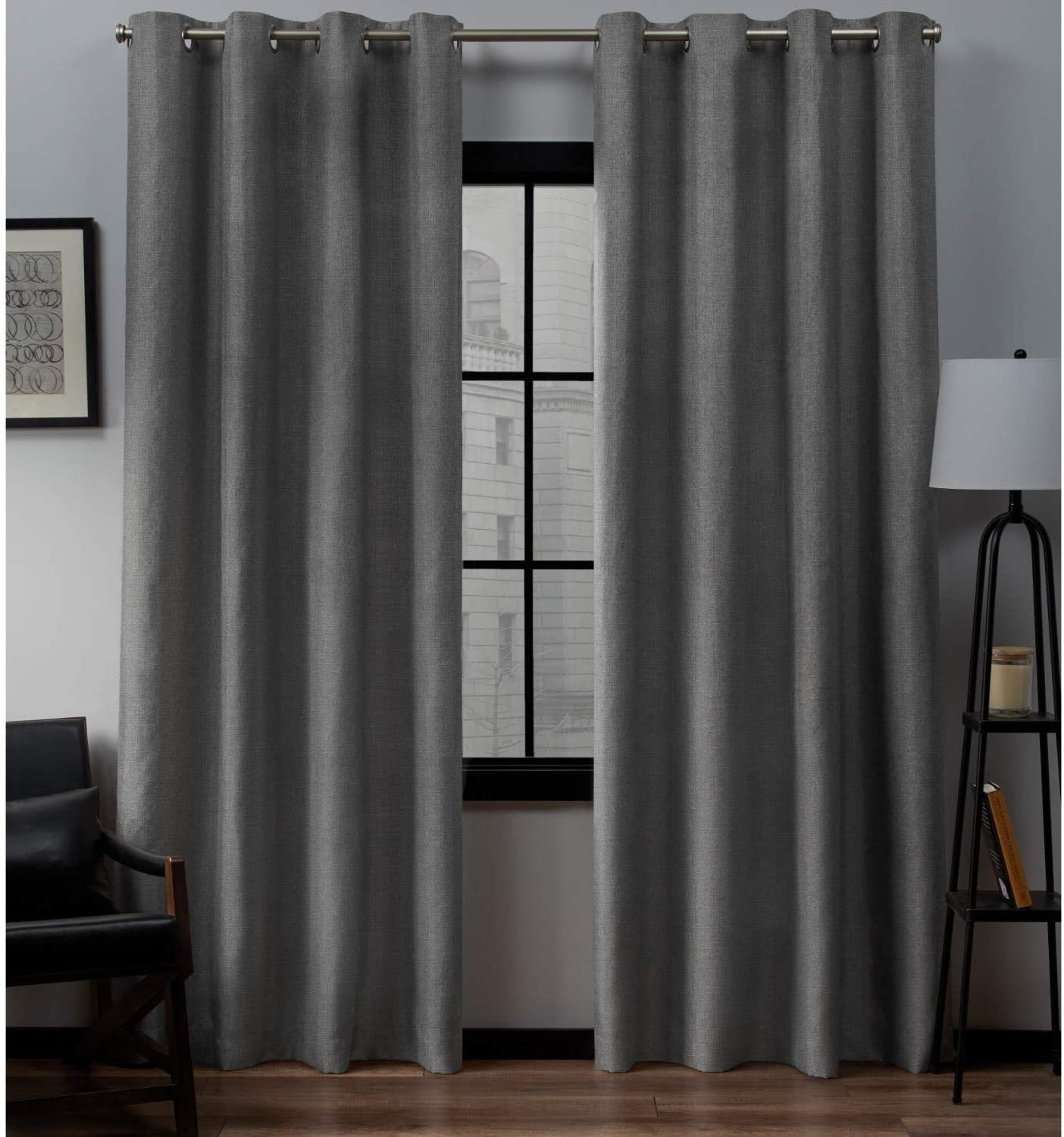 Exclusive Home Curtains Loha Linen Grommet Top Curtain Panel Pair, 54x108, Black Pearl,EH8092-01 2-108G