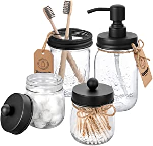 AOZITA Mason Jar Bathroom Accessories Set 4 Pcs - Mason Jar Soap Dispenser & 2 Apothecary Jars & Toothbrush Holder - Rustic Farmhouse Decor Bathroom Countertop, Vanity Organize, Black