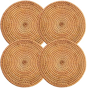 """Rattan Trivets for Hot Dishes,Kitchen Hot Pads for Coutertops,Pots and Pans,Decorative Woven Wood Place Mats for Dining Table,Set of 4 Heat Resistant Holders,Round Diameter 7.87"""" (Natural Gold)"""