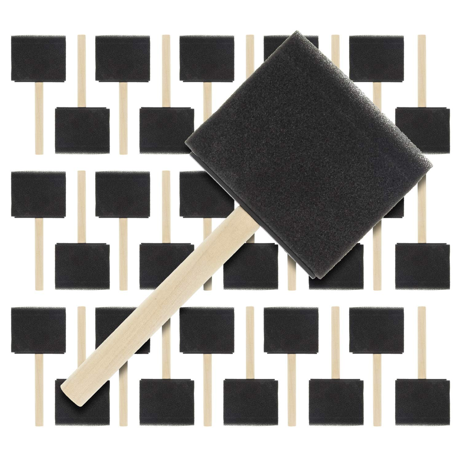US Art Supply 3 inch Foam Sponge Wood Handle Paint Brush Set (Super Value Pack of 30 Brushes) - Lightweight, Durable and Great for Acrylics, Stains, Varnishes, Crafts, Art by US Art Supply