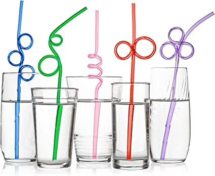 Tomnk 60pcs Crazy Loop Straws Silly Colorful Drinking Straws Fun Varied Twists Straws for Kids Birthday Party