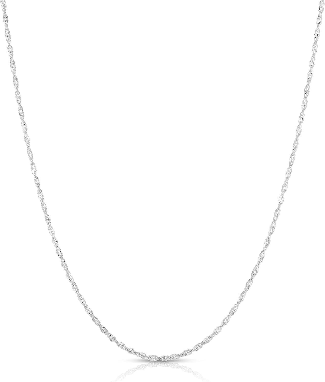 Floreo 14k Yellow Or White Gold 1mm Singapore Chain Necklace Chains Jewelry Urbytus Com