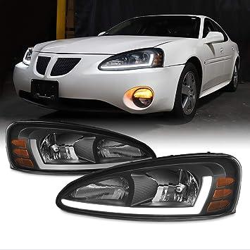 Amazon Com For 2004 2008 Pontiac Grand Prix Led Light Tube Drl Black Housing Headlights W Ember Corner Lamps Automotive