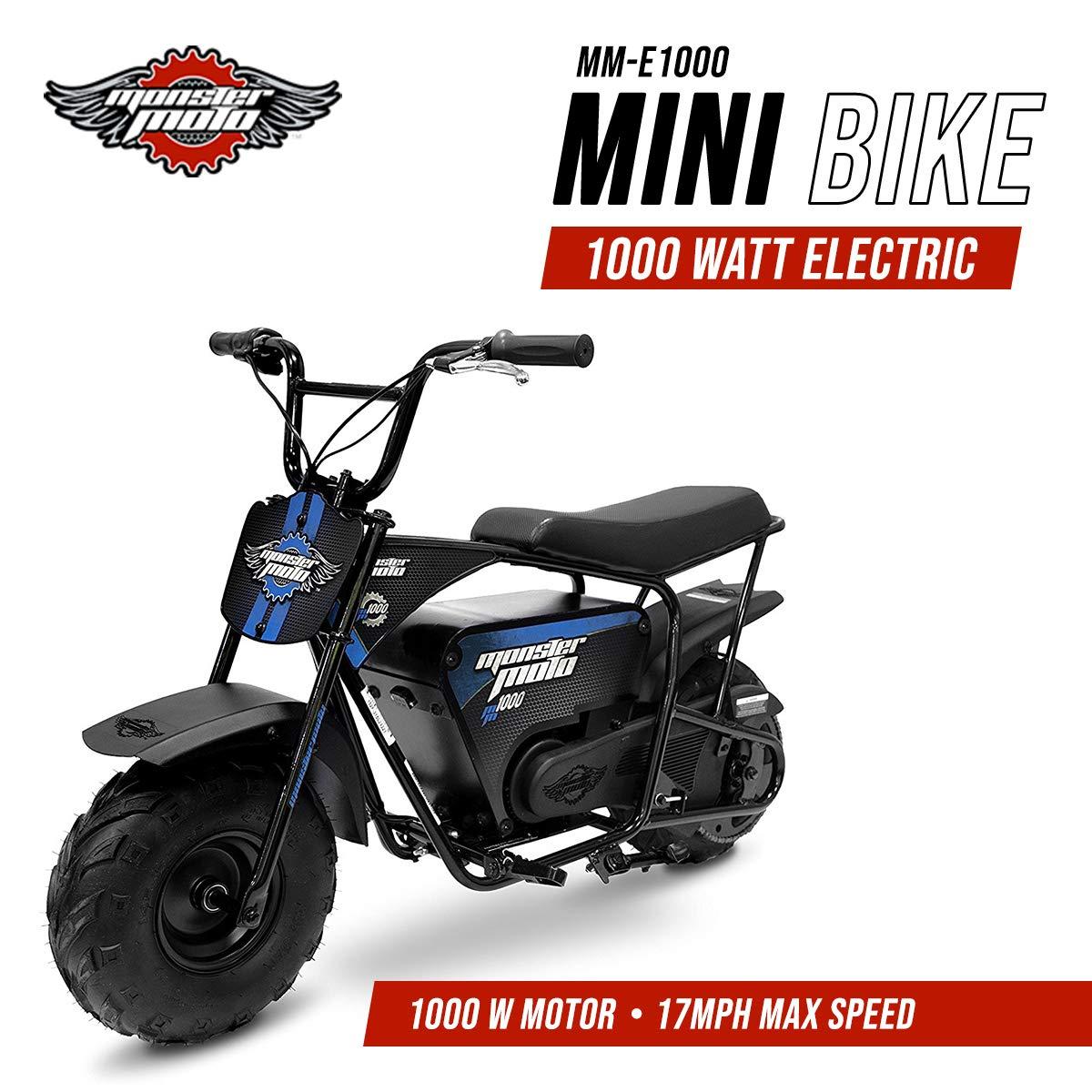 Amazon.com: Monster Moto MM-E1000-BB Electric Mini Bike, Assembled in the  USA (1000Watt, Blue/Black): Automotive