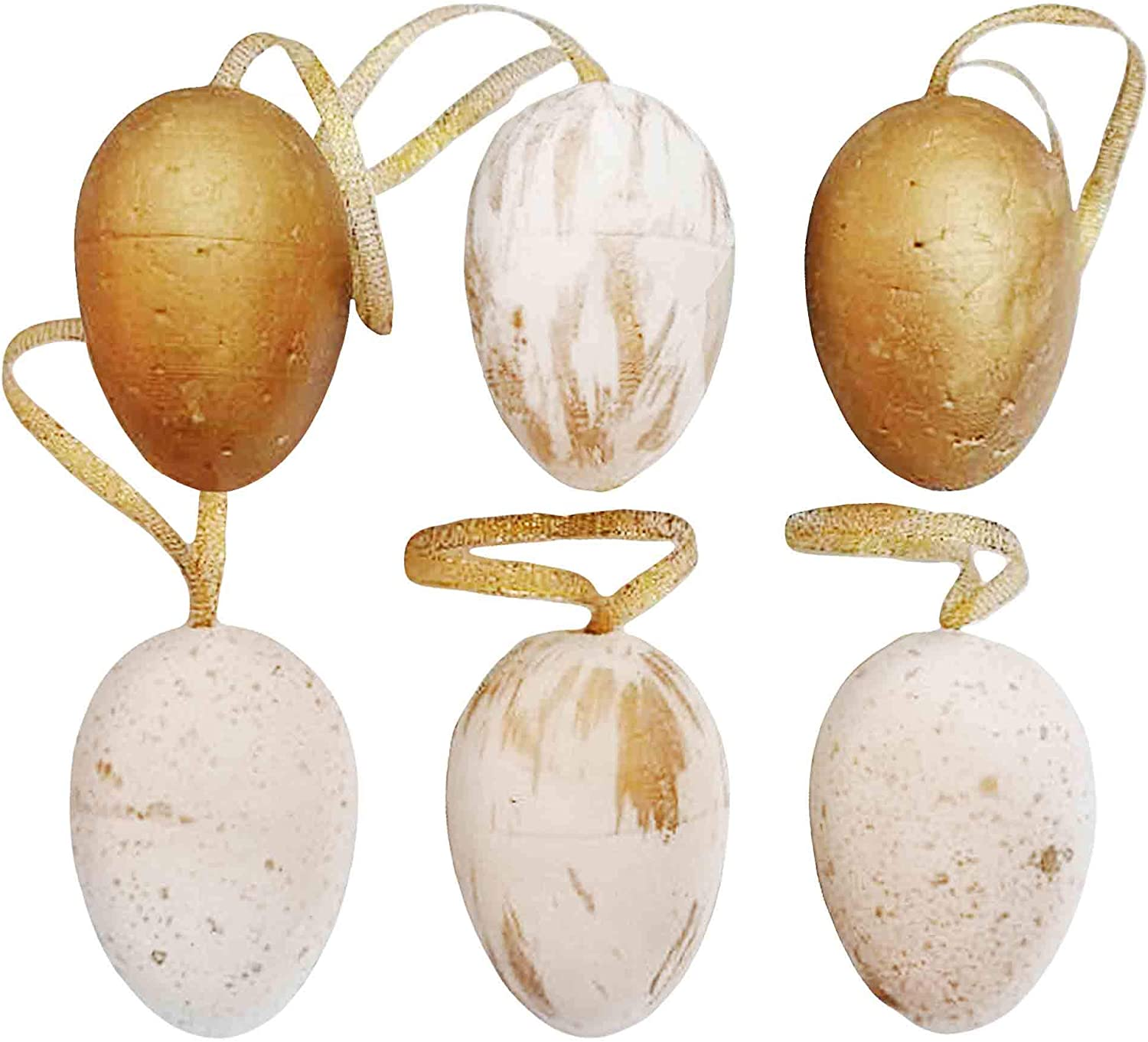 Easter Ornaments for Tree 6 pcs - Gold and White Foil Easter Hanging Ornament for Easter Decor