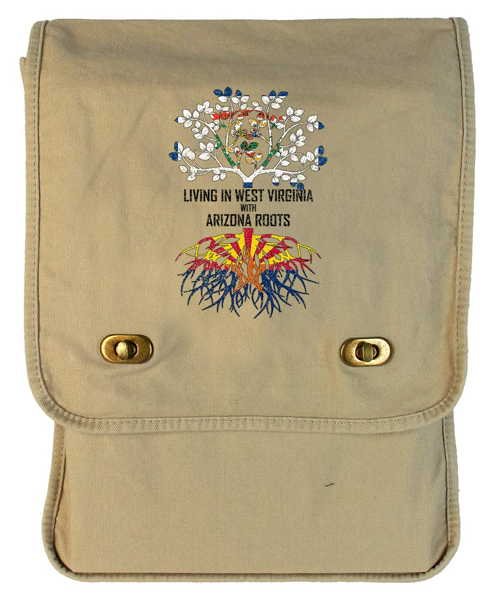 Tenacitee Living In West Virginia with Arizona Roots Grey Brushed Canvas Messenger Bag