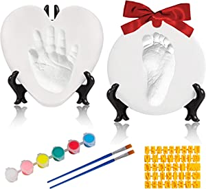 Baby Handprint Footprint Keepsake Ornament Kit-Luxury Clay Casting Kit for Newborn Gifts, Baby First Christmas Gifts with Personalized Tools & Display Stands