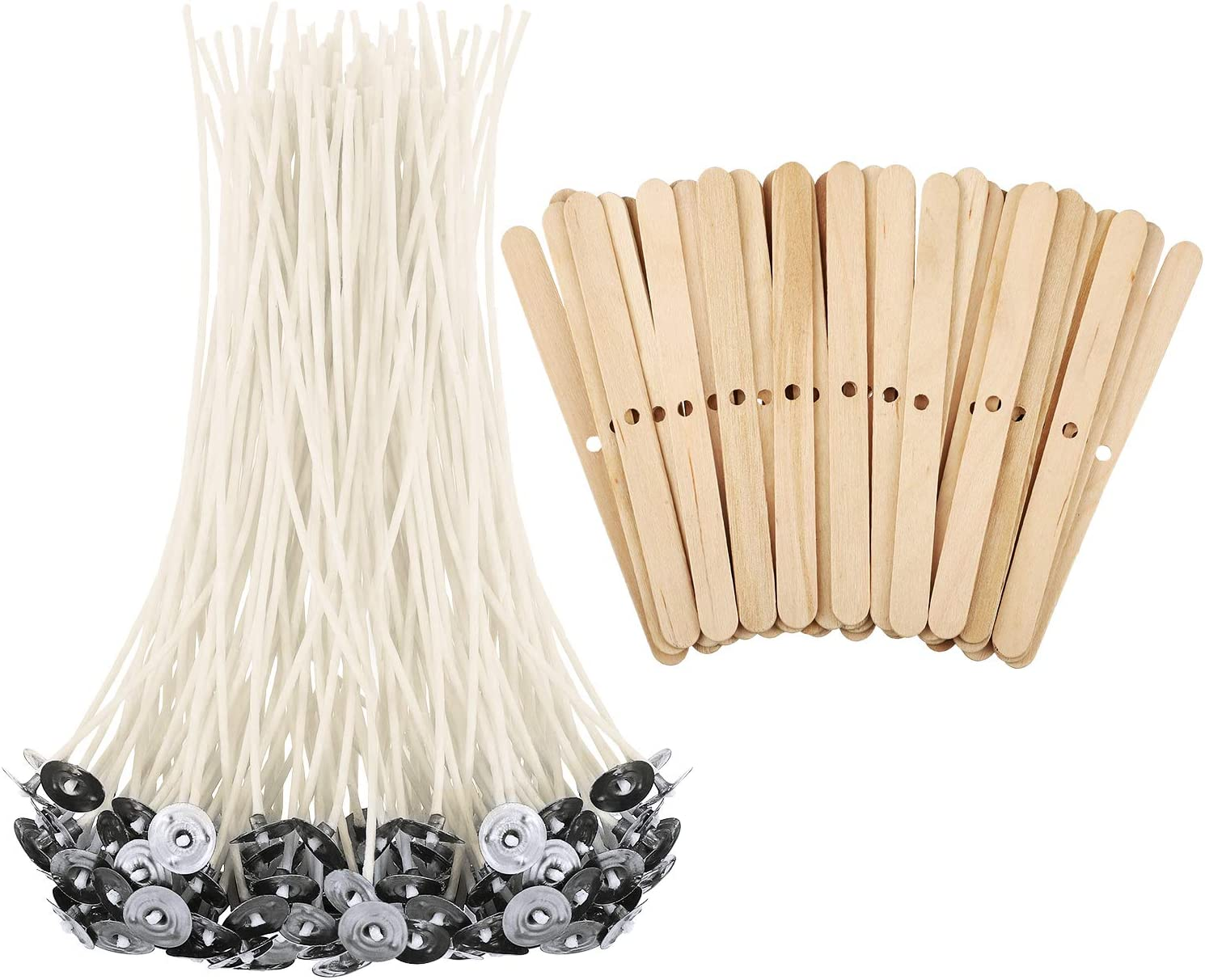 300 Pcs 6 Inch Candle Wicks Low Smoke Natural Cotton,60 Pcs Stickers Pre-Waxed DIY for Candle Making 360 Pcs Candle Wicks Kits