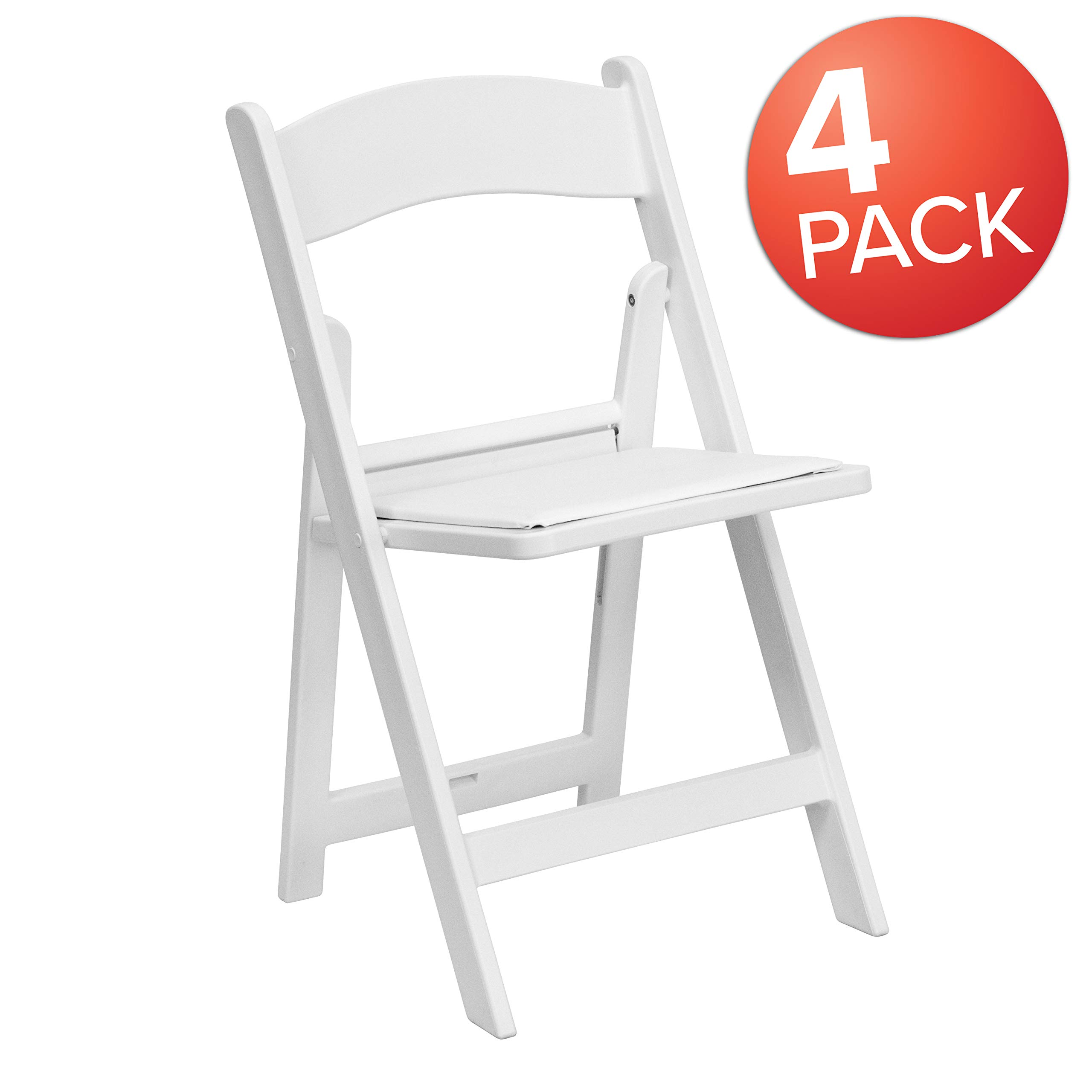 Flash Furniture 4 Pk. HERCULES Series 1000 lb. Capacity White Resin Folding Chair with White Vinyl Padded Seat by Flash Furniture