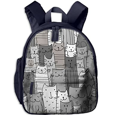 Funny Cats Family Pattern Double Zipper Closure Waterproof Children  Schoolbag Backpacks With Front Pockets For Teens 44ab9743f9196