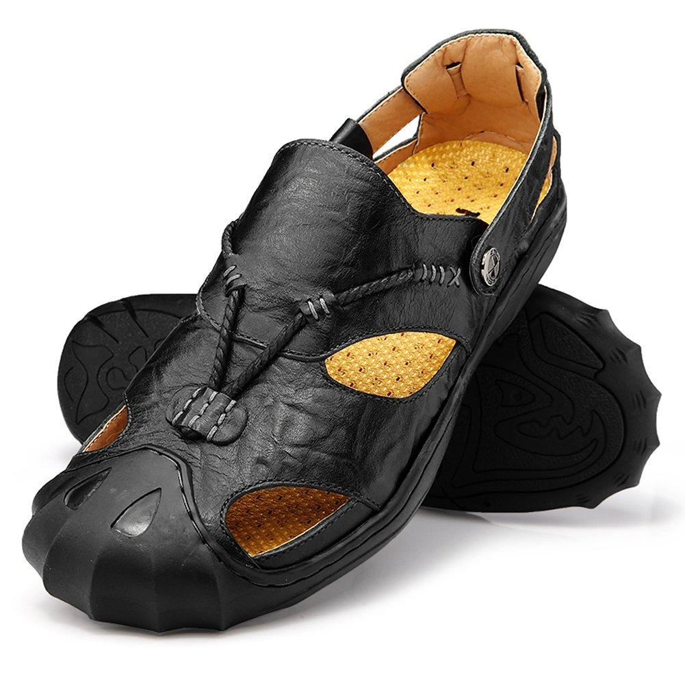 Qiucdzi Men Leather Sports Sandals Summer Outdoor Closed Toe Breathable Walking Beach Sandals/Fisherman Sandals Men US 11.5 Black