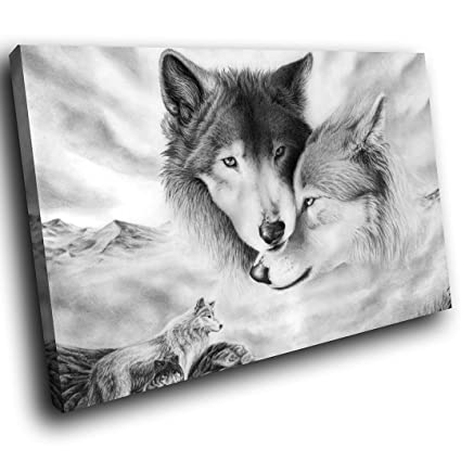 ALL SIZES Black /& White Arctic Wolves Wolf Canvas Wall Art Picture Print