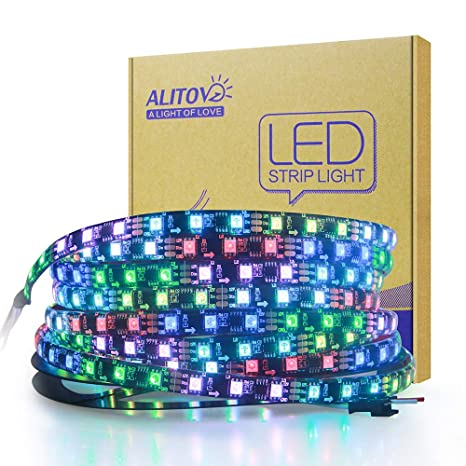 ALITOVE RGB Addressable LED Strip WS2811 12V LED Strip Lights 16 4ft 300  LEDs Dream Color Programmable Digital Flexible LED Pixel Rope Light