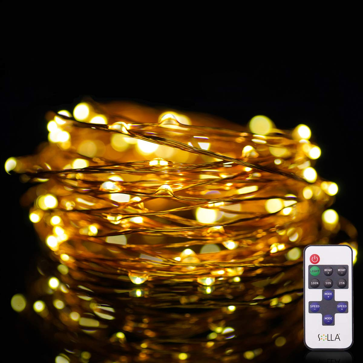 String Lights Solla 33ft 100 Leds Led Dimmable Copper 100leds Warm White Wire Strip 12v Dc Usb Powered Waterproof Starry Flexible Rope