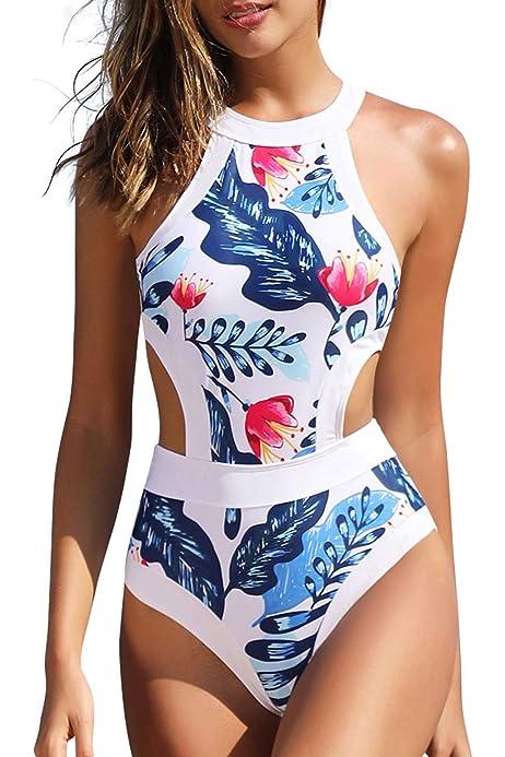 Printing Starfish One Piece Swimsuit Slim Swimwear Women Hanging Neck Bikini
