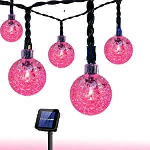 Solar String Lights Waterproof LED Fairy Lights 8 Modes Outdoor Starry Lights Solar Powered String Light for Garden Yard Home Party Wedding Decoration (Pink)