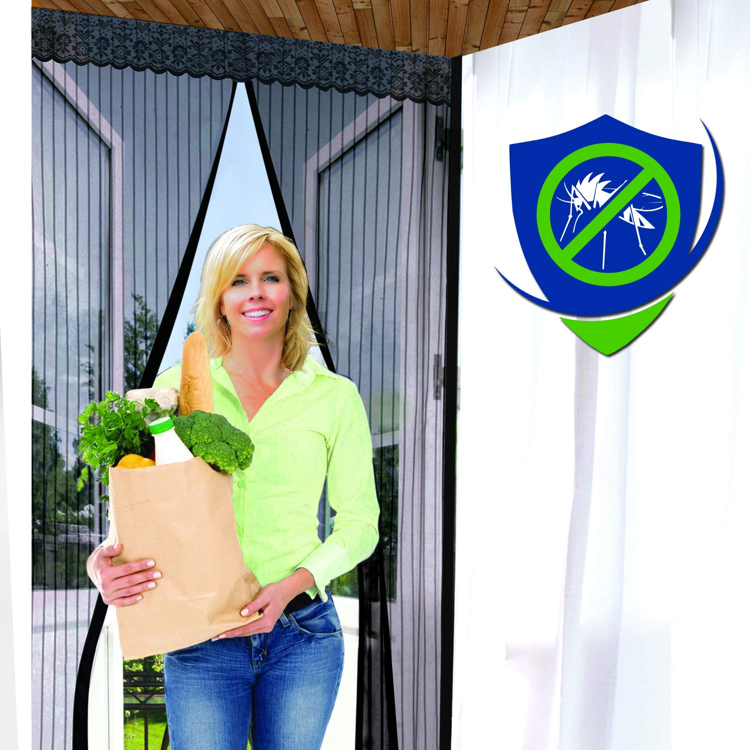 Magnetic Screen Door - 5 Colors & 11 Sizes to Fit Your Door Exactly - US Military Approved - Reinforced With Full Frame Velcro to Ensure All Bugs Are Kept Out Breakthrough Premium Products IHLSMS2880BL