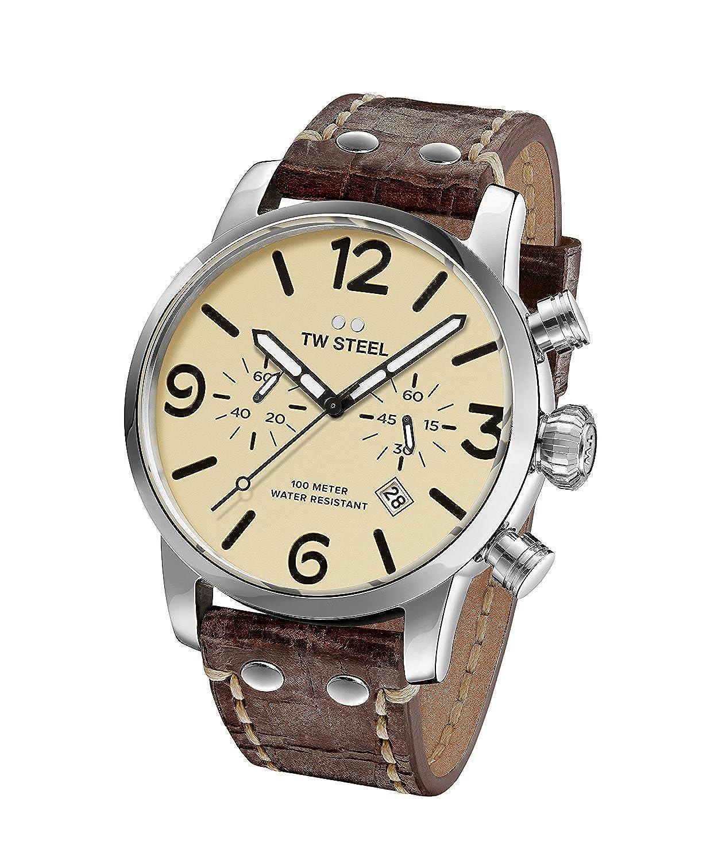 [ティーダブルスティール]TW Steel 腕時計 'Maverick' Quartz Stainless and Leather Casual Watch, MS23 メンズ [並行輸入品] B075HZ8CKZ