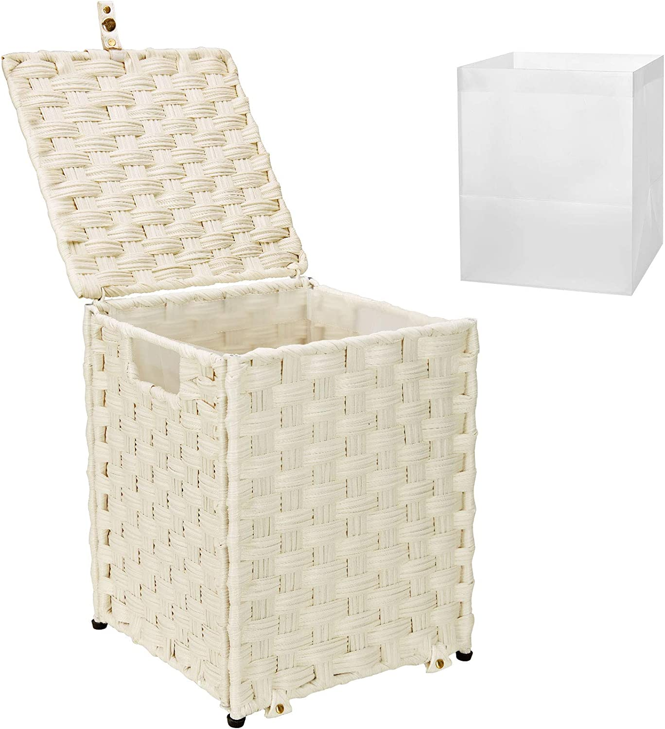 Greenstell Waste Basket with Lid and 2 Replaceable Liners, Hand Woven Basket with Handles, Home Office Paper Wastebasket, Garbage Container Bin for Bedroom, Bathroom, Utility Rooms Pack of 1, White