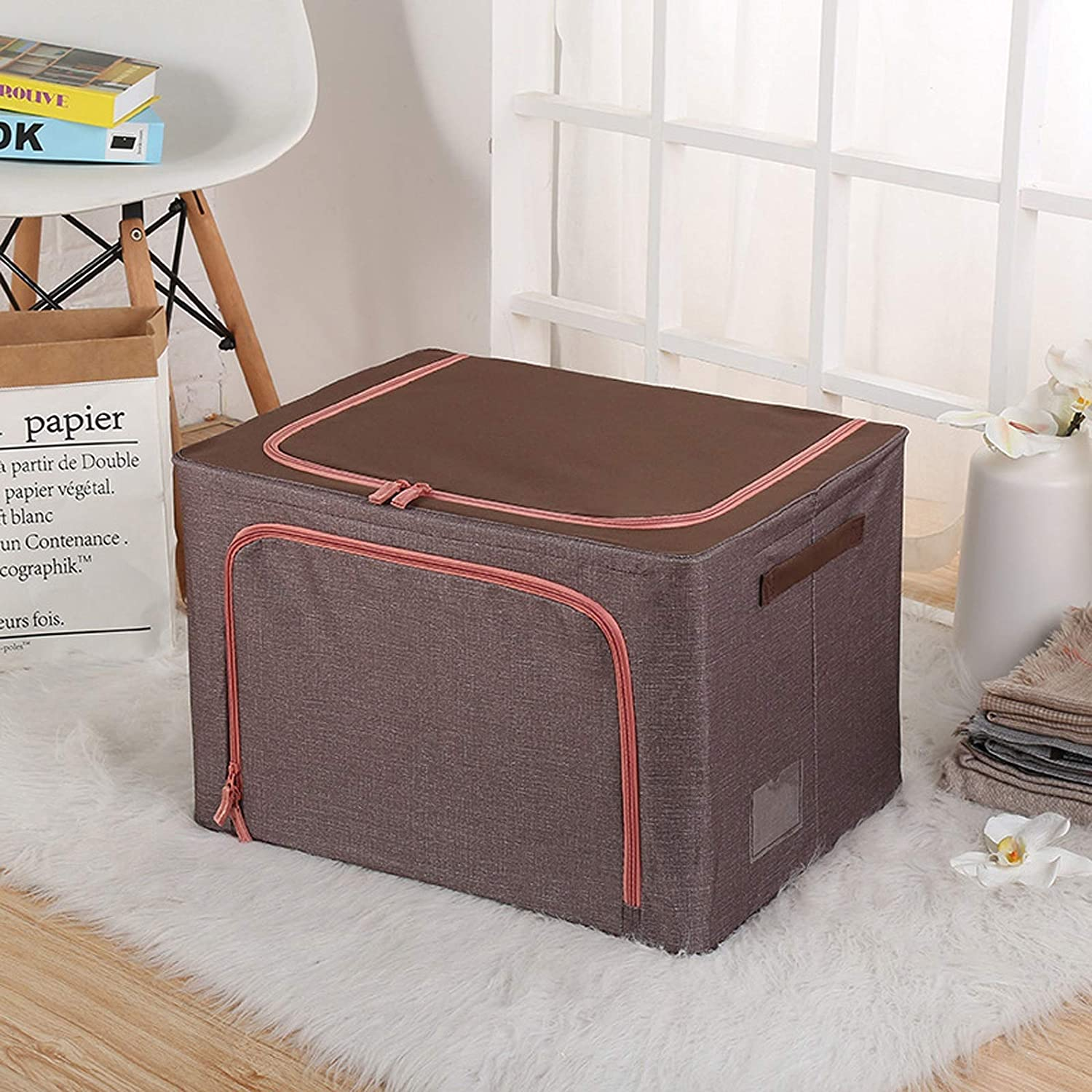 Large Foldable Storage Bin, 66L Oxford Cloth Steel Frame Clothing Storage Box with Lids and Zips, for Home Office Nursery Organiser Clothes Basket Containers,Style 1