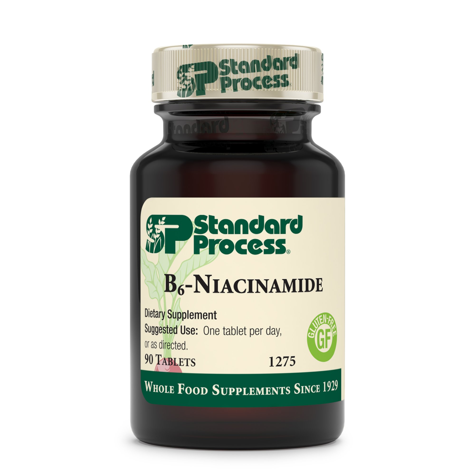 Standard Process - B6 Niacinamide - Gluten Free B-Vitamin Supplement, 50 mg Vitamin B6, 10 mg Niacin, Supports Energy Metabolism, Cardiovascular, Digestive, Endocrine, Nervous Systems - 90 Tablets by Standard Process