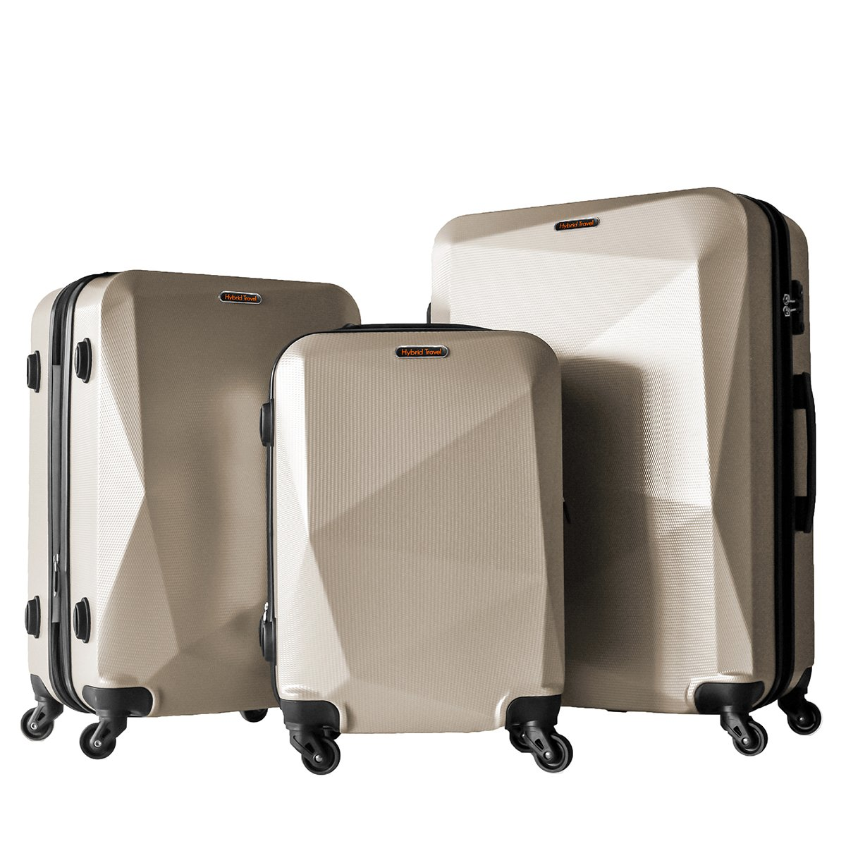3 Piece Luggage Set Durable Lightweight Hard Case Spinner Suitecase LUG3 HD1629 GOLD