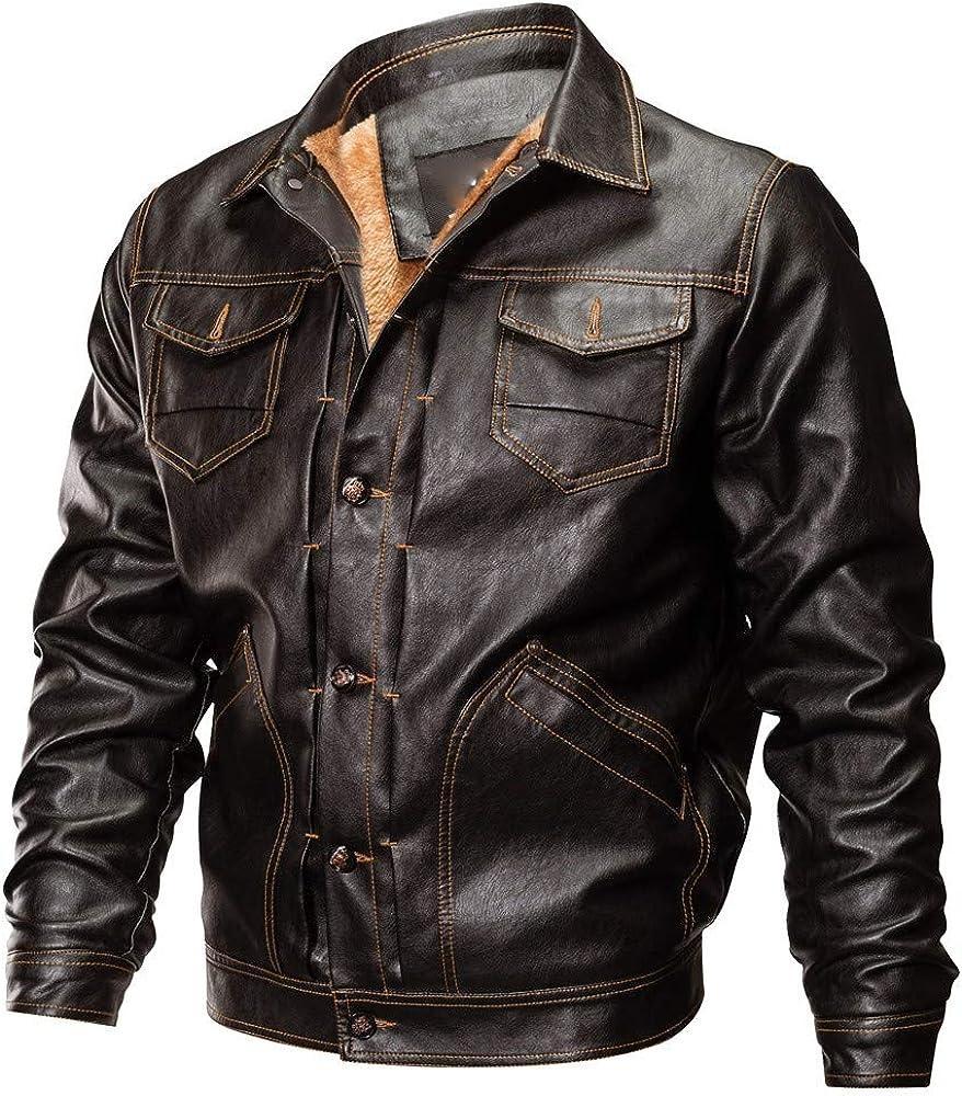 Chaqueta Moto Hombre Hombres OtoñO Invierno Chaqueta de Cuero Biker Motocicleta BotóN Outwear Abrigo Blusa Superior