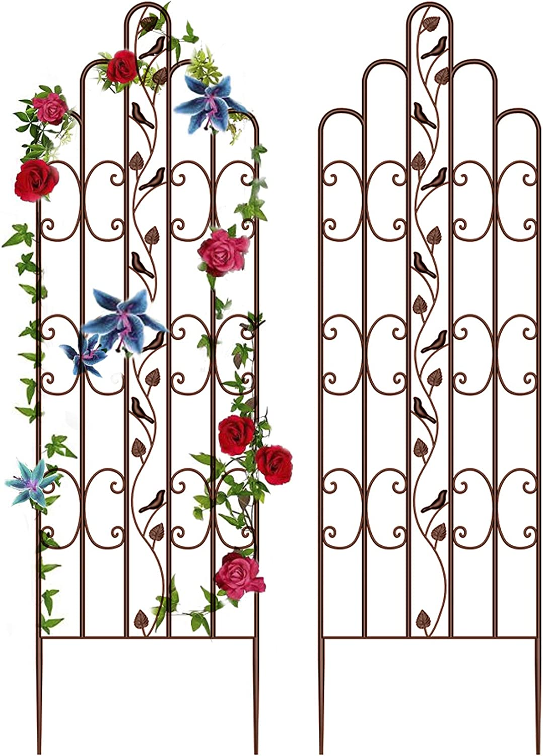"""Amagabeli 2 Pack Large Garden Trellis 71"""" x 21"""" Heavy Duty Rustproof Brown Iron Plant Trellis for Potted Plant Support Tall Wall Metal Trellis for Rose Vine Vegetable Cucumber"""