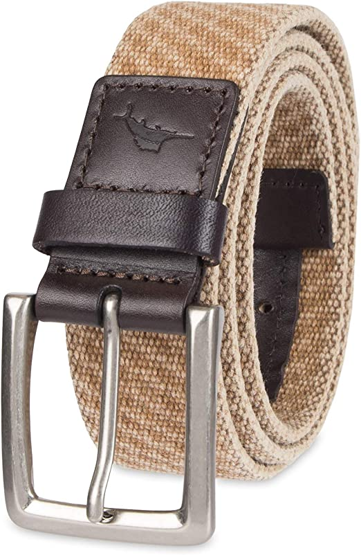 """Nautica Mens Accessories 1 3//8/"""" Washed Cotton Web Belt W// Leather"""