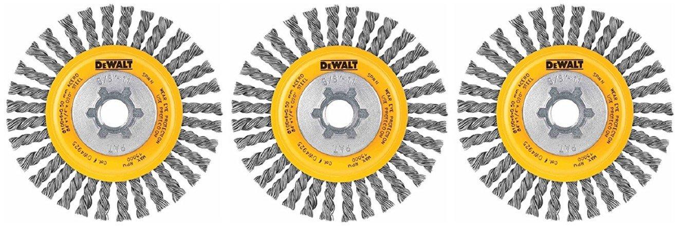 DEWALT DW4930 4-Inch by 5/8-Inch-11 Full Cable Twist Wire Wheel/Carbon Steel .020-Inch (3)