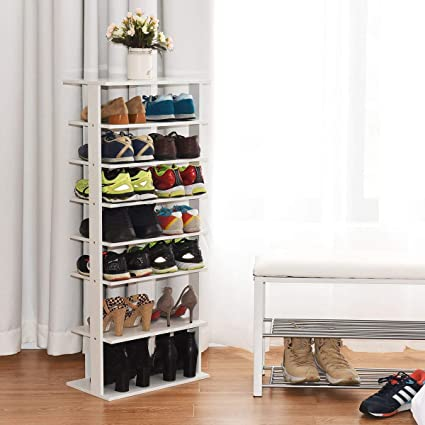 Amazoncom Tangkula Wooden Shoes Storage Stand Modern 7 Tiers Shoe