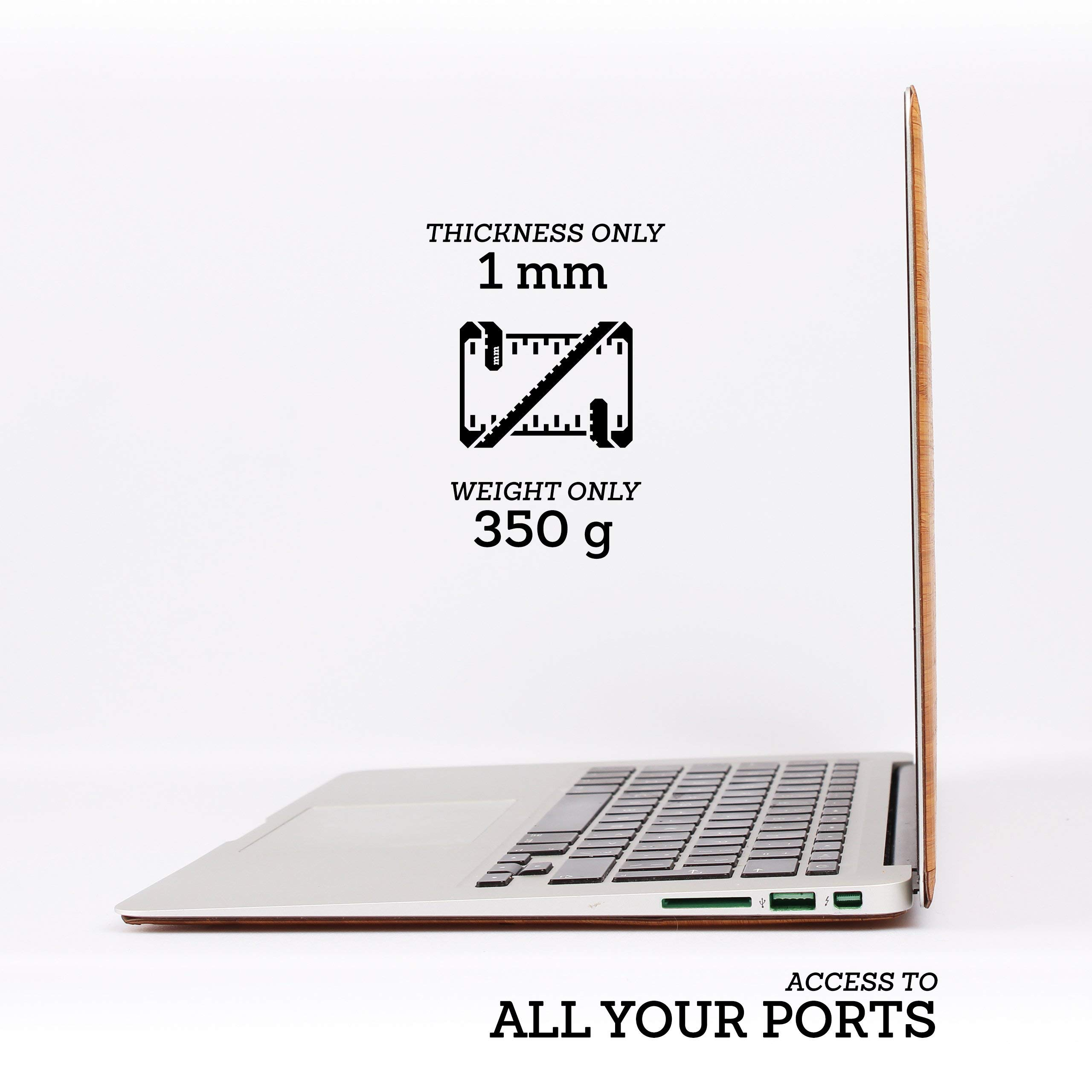 WOODWE Real Wood MacBook Skin for Mac Air 13 inch Non Retina Display   Model: A1237/A1304/A1369/A1466; Early 2008 - Mid 2017   Natural Bamboo   TOP ONLY by WOODWE (Image #3)