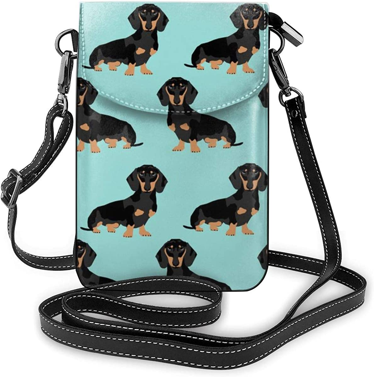 Embroidered dog purse Denim smart phone padded pouch Small cross body bag. coin purse hipster with two zippers choose your Breed