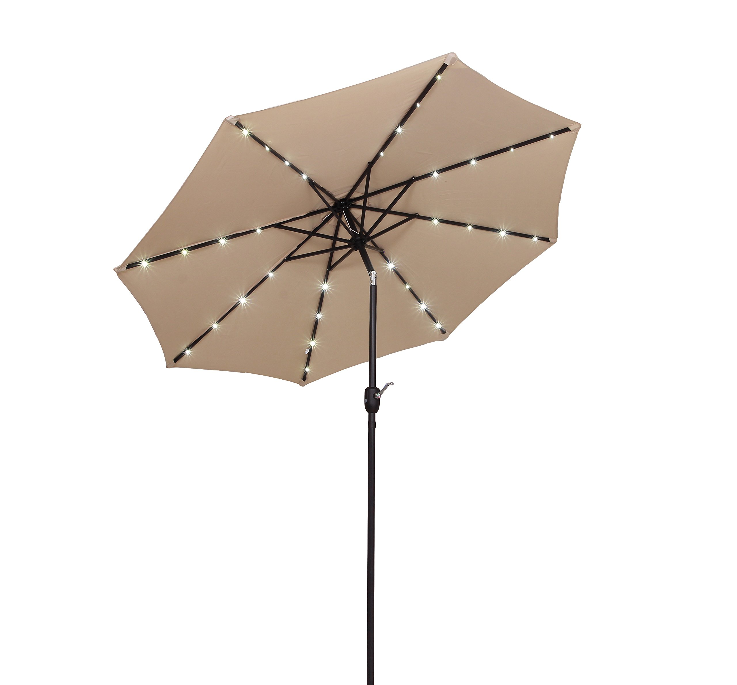 Tourke 9Ft LED Lighted Patio Market Umbrella Outdoor Solar Powered Table Steel Umbrella with Tilt and Crank (Beige) Solar Panel in Styrofoam