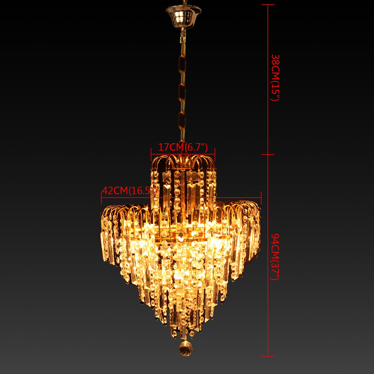 Samger Ara/ña de 6 brazos Cristal K9 L/ámpara de techo L/ámpara Colgante E14 para la entrada del pasillo del dormitorio de la sala de estar