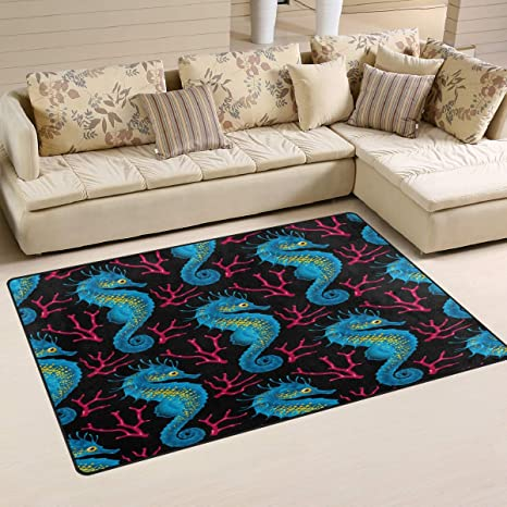 Amazon.com: Naanle Sea Animal Non Slip Area Rug for Living ...