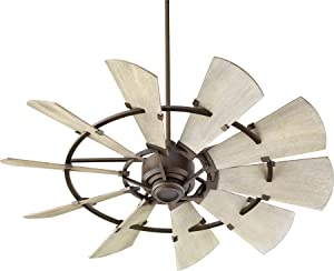 "Quorum 95210-86 Windmill 52"" Ceiling Fan with Wall Control, Oiled Bronze"