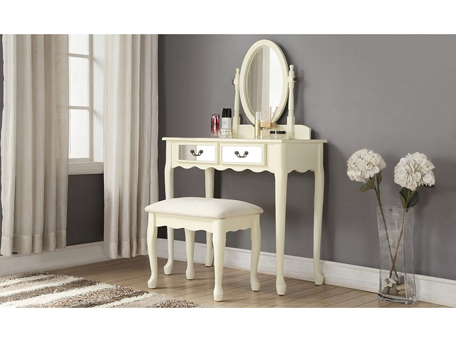 Traditional Design Mirrored Vanity Dressing Table Set With Soft Curved Legs & Stool - Ivory GFW - The Furniture Warehouse