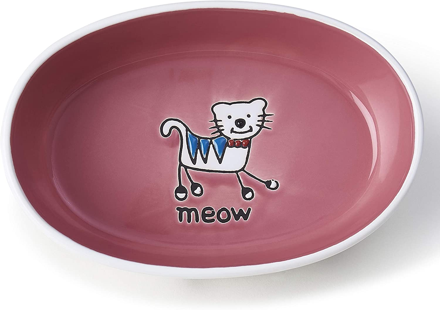 PetRageous 11023 Silly Kitty Oval Dishwasher Safe Stoneware Cat Bowl 6.5-Inch Long 4-Inch Wide 2-Inch Tall 2-Cups Capacity for Cats of All Sizes With Silly Kitty Logo In the Basin, White and Pink