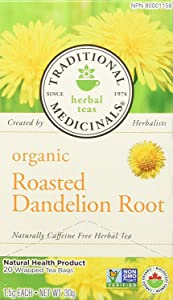 Traditional Medicinals Herbal Teas, Organic Roasted Dandelion Root, Naturally Caffeine Free, 16 Wrapped Tea Bags.85 oz (24 g)