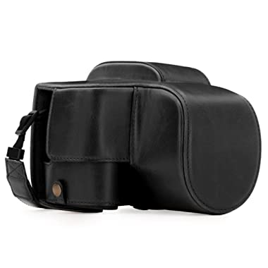 MegaGear Panasonic Lumix DC-FZ80, FZ82 Ever Ready Leather Camera Case and Strap, with Battery Access - Black - MG1223
