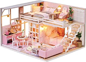 TuKIIE Miniature Dollhouse with Furniture, DIY Wooden Doll House Kit with Dust Proof & Music Movement, 1:24 Scale Creative Room Handcrafts Toys Birthday Gift for Children Teens