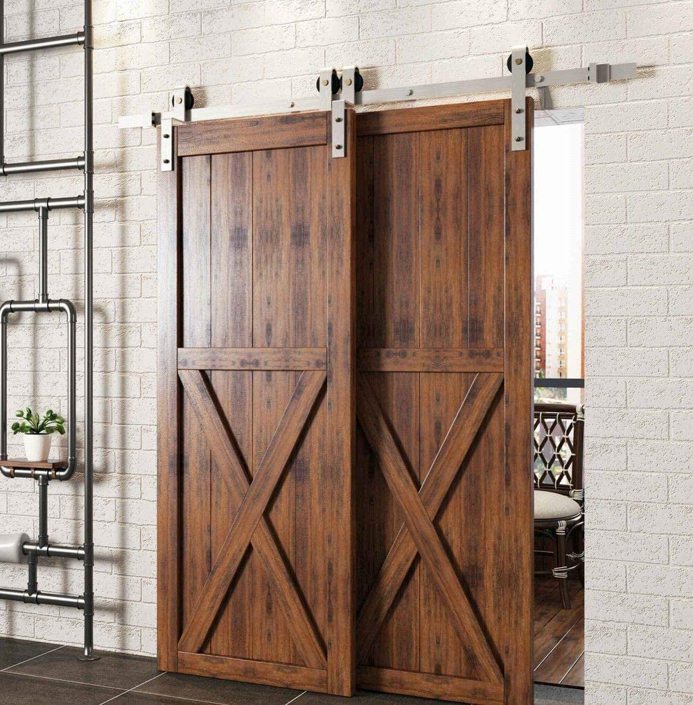 Homacer Brushed Nickel Single Track Bypass Sliding Barn Door Hardware Kit For Two Double Doors 16ft Long Flat Track Classic Design Roller Heavy Duty For Interior Exterior Use Home Improvement