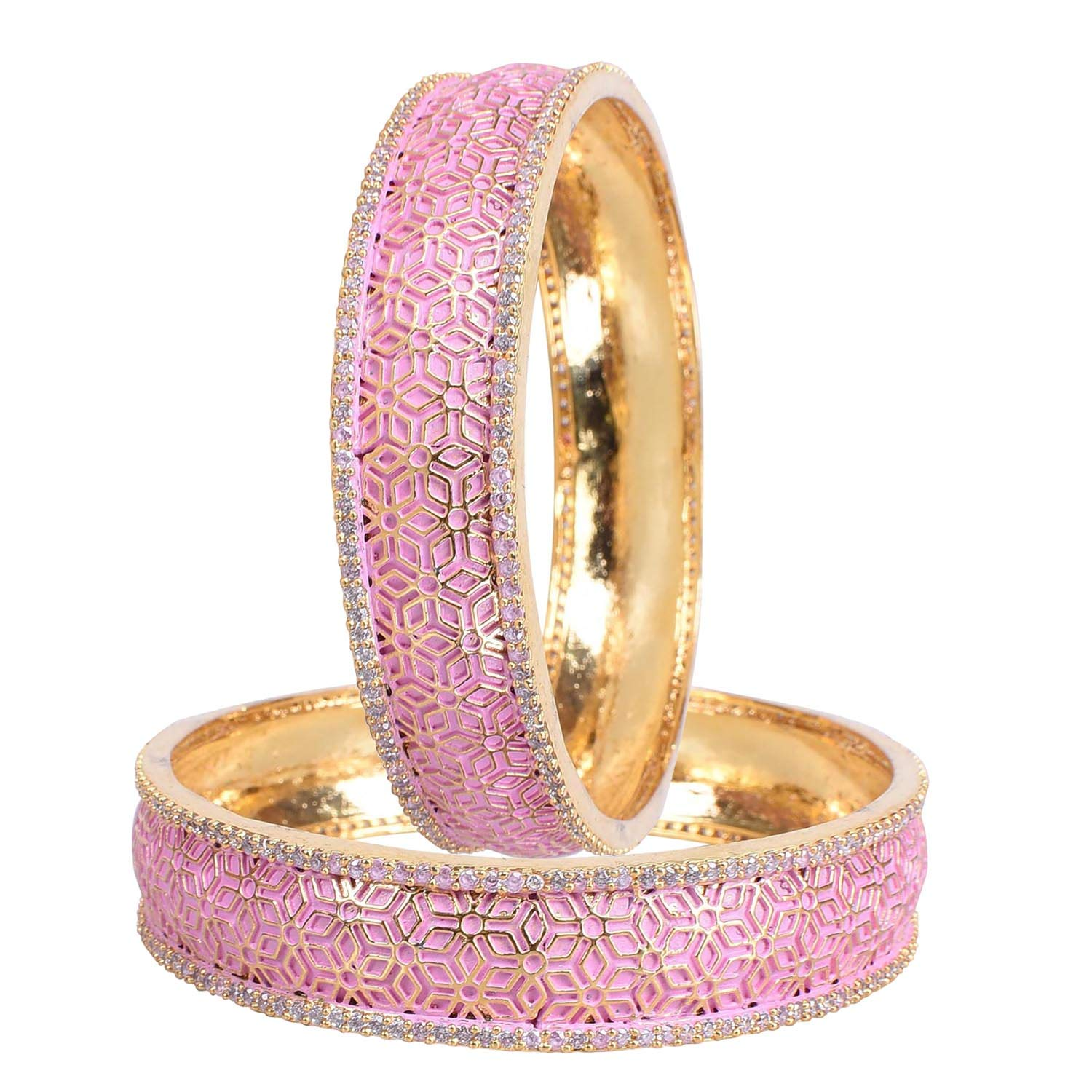 Ratnavali jewels American Diamond CZ Gold Plated Pink Meena Enamel White Bangles for Women/Girls RV3195P-2.8 (B07LBYXF86) Amazon Price History, Amazon Price Tracker