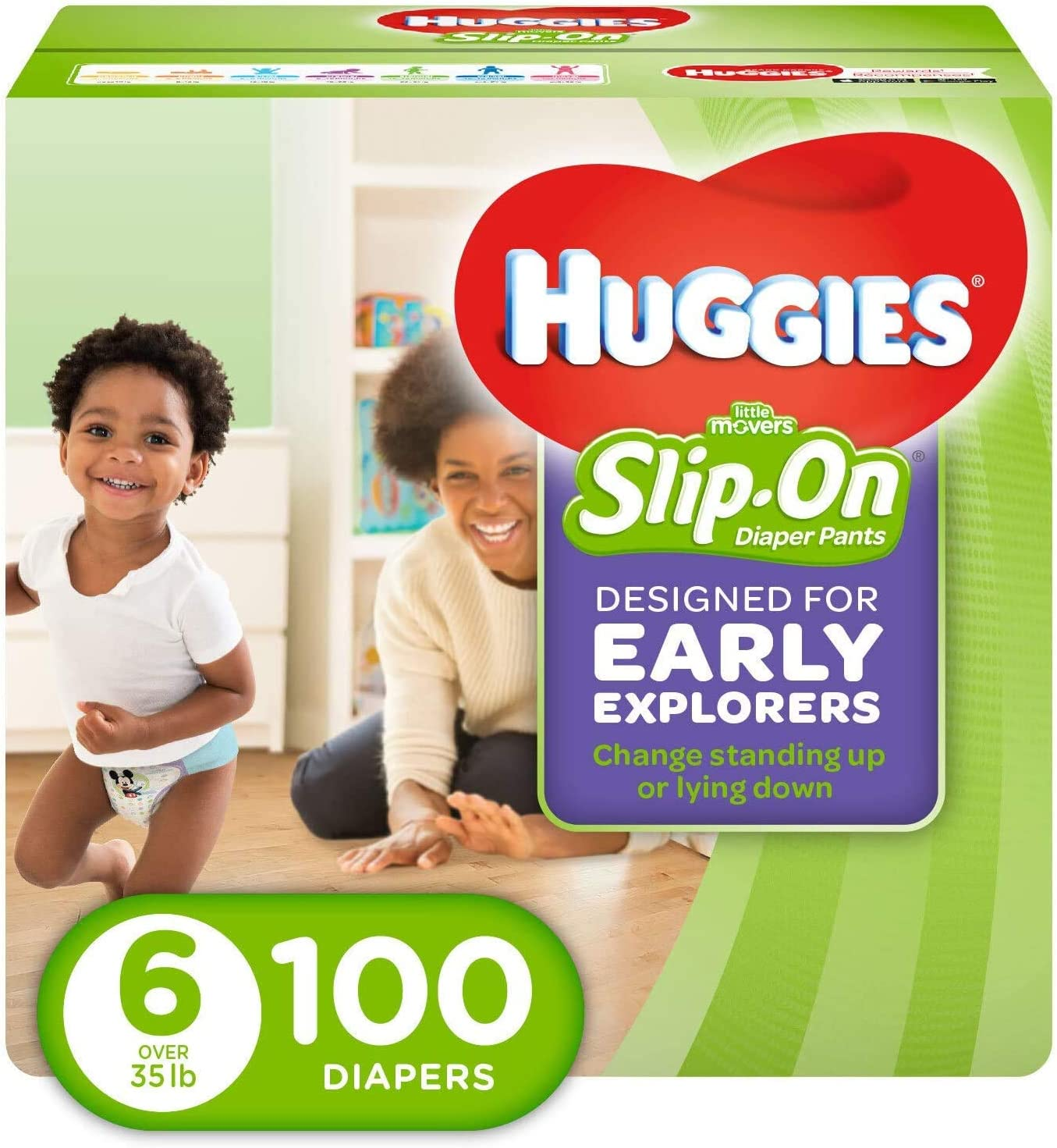 Huggies Little Movers Slip On Diaper Pants, Size 6, 100 Count, One Month Supply: Health & Personal Care