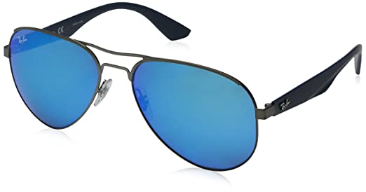 Ray-Ban Mirrored Aviator Sunglasses (Blue)(0RB3523029/5559) Sunglasses at amazon