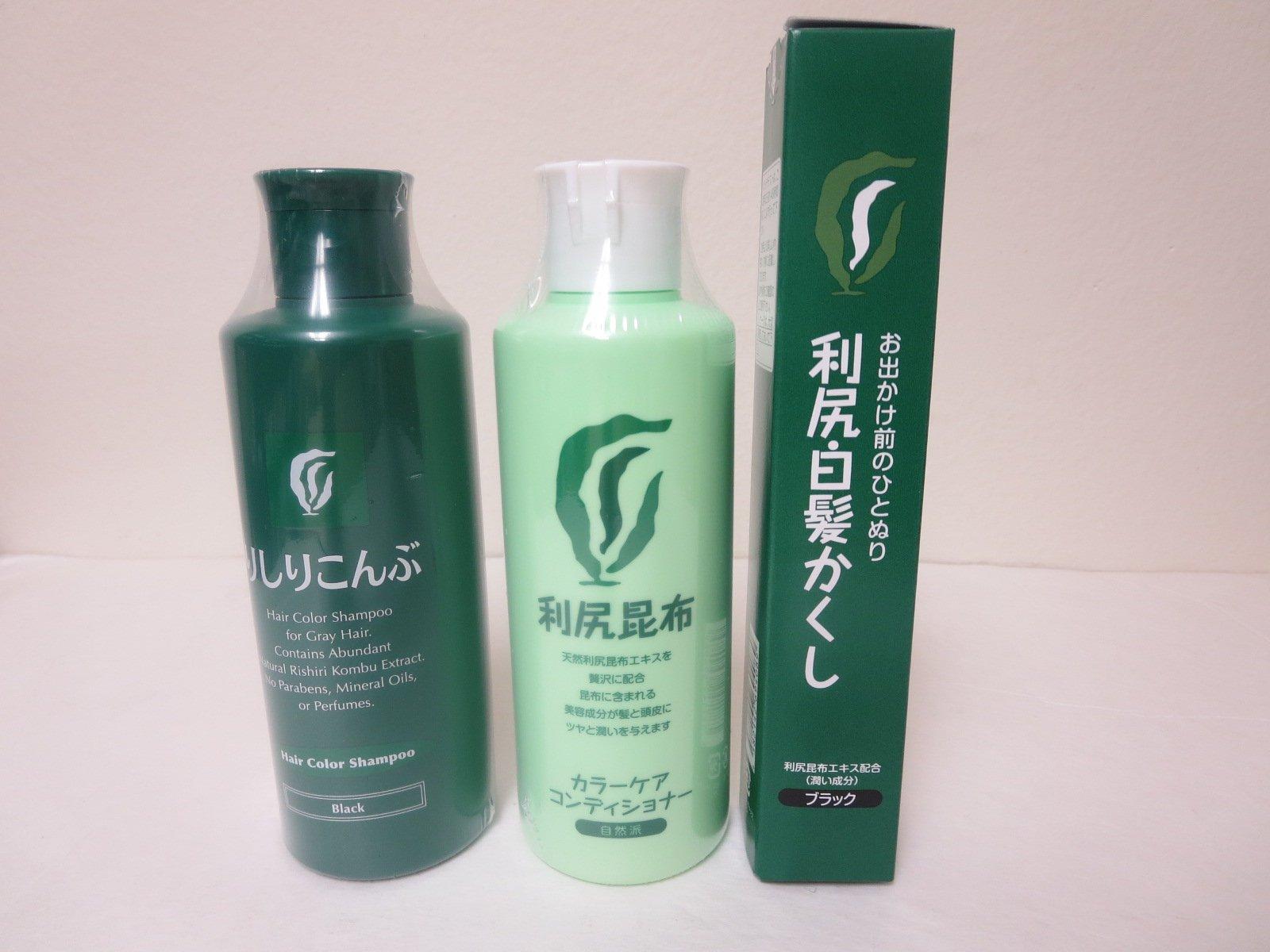 Rishiri Color Shampoo Black (6.7fl Oz) + Color Stick Black (0.7oz)+Color Conditioner (6.7fl Oz)